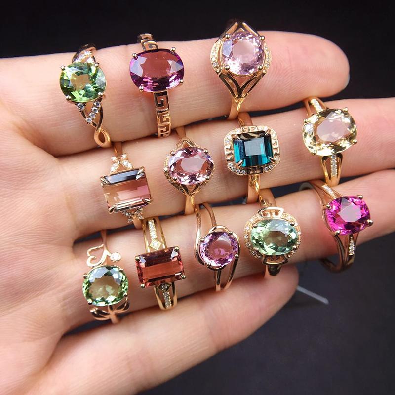 天然巴西红蓝绿彩虹碧玺戒指女18K金玫瑰金镶嵌时尚个性食指宝石