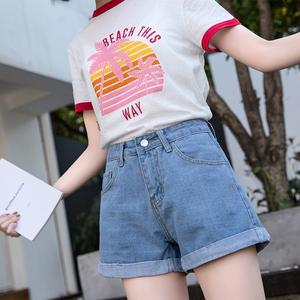 2021新款夏季复古高腰牛仔短裤女阔腿宽松休闲A字显瘦韩版热裤子