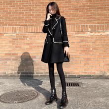 赫本风小个子呢子大衣女中长款2019秋冬新款黑色加厚宽松毛呢外套