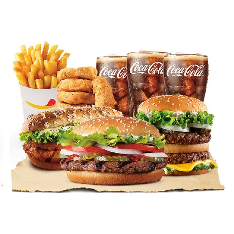 【百亿补贴】汉堡王 天椒皇堡3人餐 单次兑换券 优惠券 电子券