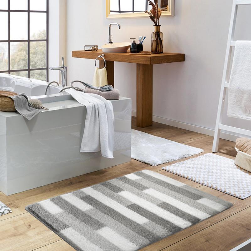 瑞士品牌SPIRELLA Plank地板格子纹 混纺卧室垫子 卫生间干脚地毯