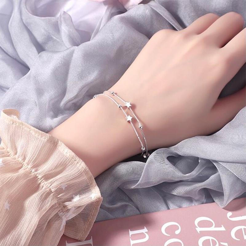 纯银双层星星手链女夏简约满天星小众设计ins 学生女友闺蜜送礼物