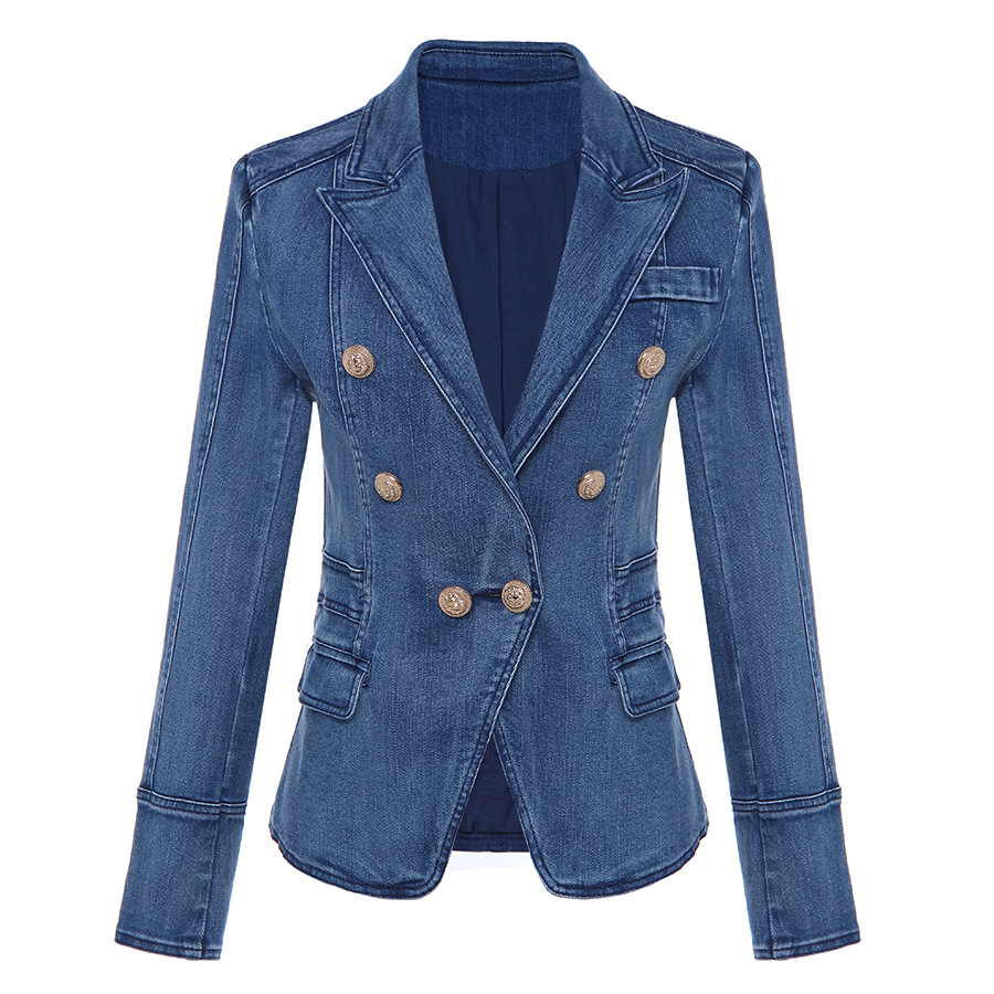 European products fall / winter 2019 new slim womens top double row lion button wash water denim suit slim little coat