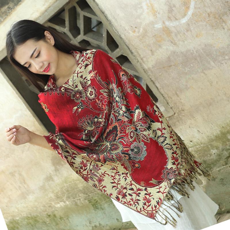 New national style Scarf Cotton Bohemian Scarf Shawl female five golden flower jacquard Lijiang shawl