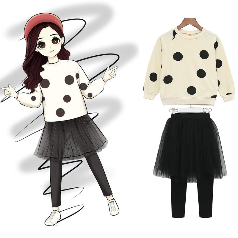 童装女童春秋套装2019新款中大儿童洋气时髦韩版时尚裙裤两件套潮