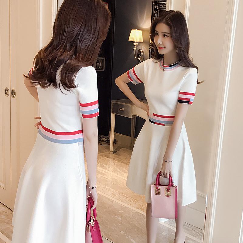 白色针织连衣裙女夏2018新款韩版修身时尚中长款气质短袖冰丝裙子