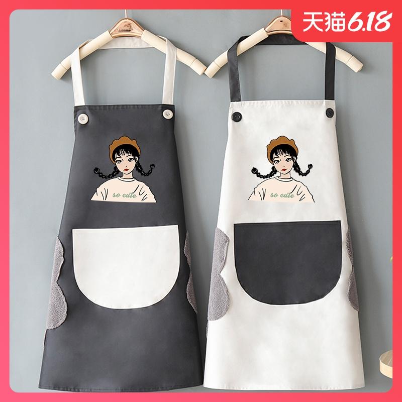 可擦手围裙家用厨房女防水防油男做饭可爱日系韩版时尚工作服大人
