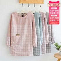 围裙家用厨房反穿罩衣女大人长袖防水防油时尚可爱日系韩版裙子式