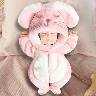 婴儿连体衣秋冬季宝宝外出抱衣服加厚冬款包脚新生婴儿冬装女套装