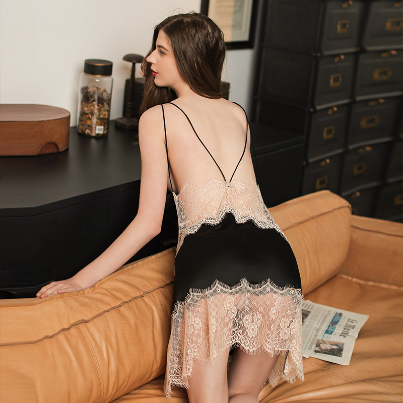 露背睡衣女夏季性感冰丝带胸垫美背低胸蕾丝午夜魅力薄款吊带睡裙