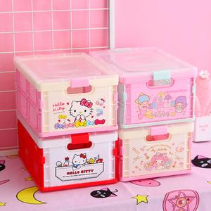 透明有盖化妆品文具整理箱可折叠塑料收纳箱少女心可爱家用零食箱