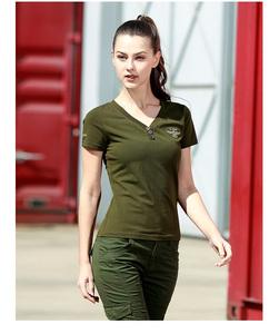 绿色装备户外时尚军迷服饰迷彩服军旅风修身V领女短袖T桖