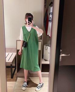 连衣裙女2019秋季新款韩版中长款V领假两件短袖宽松过膝流行裙子