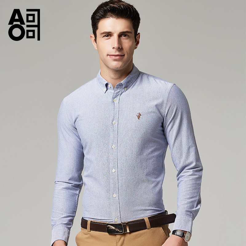 Aoge shirt spring and autumn cotton long sleeve easy to repair mens coat top business professional formal mens shirt