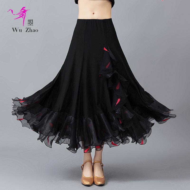 2018 новая коллекция Взрослая женская современная танцевальная вальсовая практика общения Полудлительное свинг-платье красный Украшенная точка