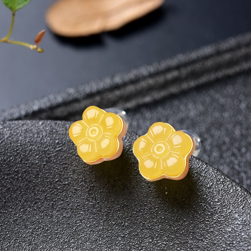 Genuine S925 pure Tremella nail anti allergy plating 18K gold natural chicken oil yellow wax AMBER EARRINGS