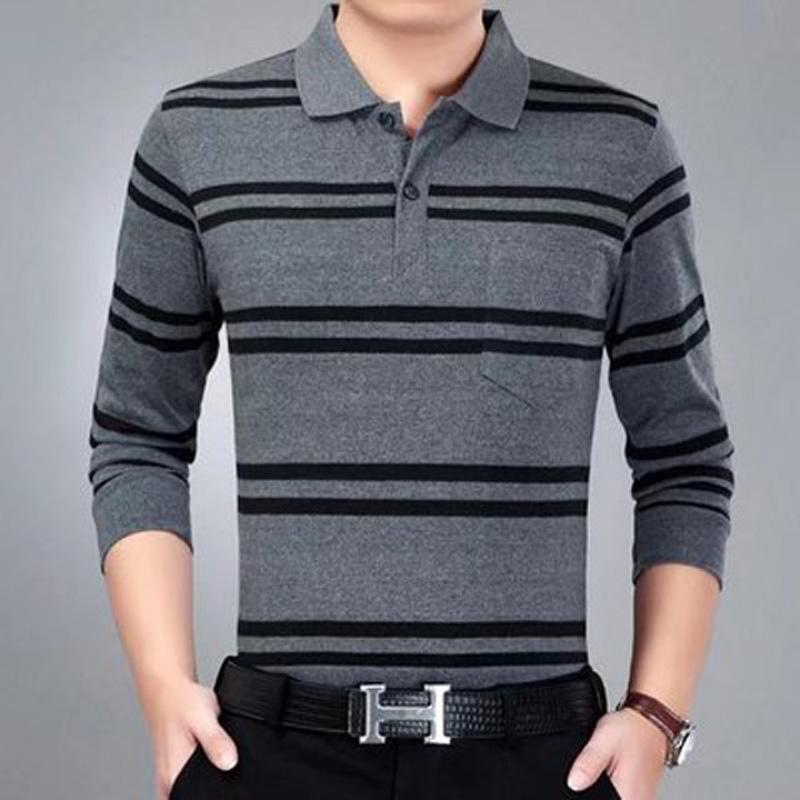 新款男式长袖中年棉翻领大码polo衫