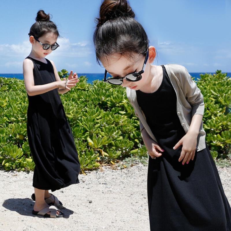 女童连衣裙纯棉背心长裙沙滩裙夏装韩版儿童吊带裙子中大童长裙子