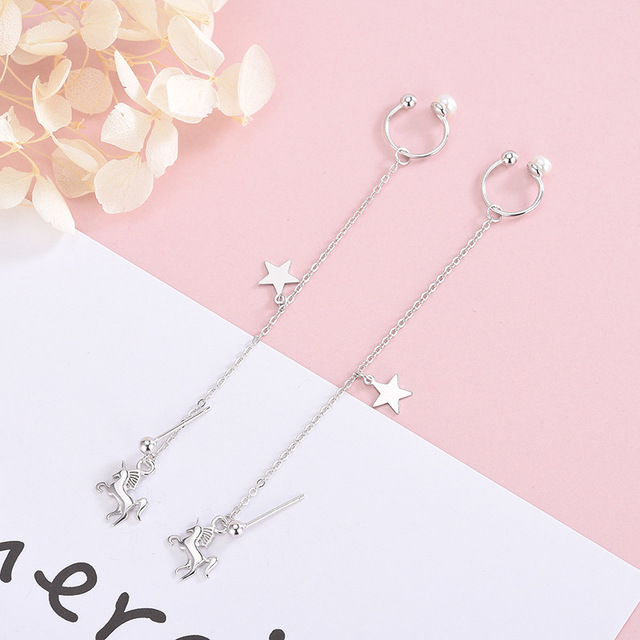 All body pure silver Unicorn earrings, female S925 Long Star chain, personalized dual-purpose one-piece pearl ear clip