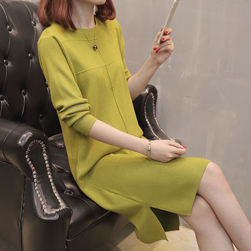 New dress in early autumn, loose round neck, long knitted base, skirt and woolen dress