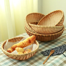 Mushan bamboo basket, snack basket, vegetable basket, round dustpan, bun basket, snack basket, bamboo basket, bamboo flat