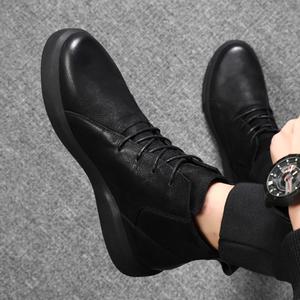 马丁靴男冬季雪地靴中高帮短靴子百搭男士英伦休闲皮鞋男鞋棉鞋潮