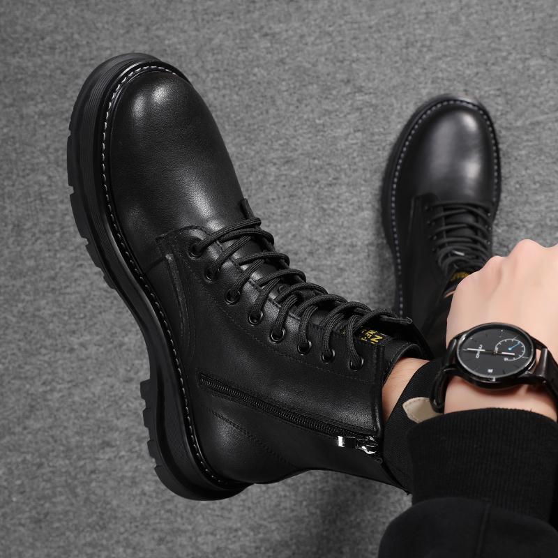 春季马丁靴男高帮休闲皮鞋英伦风男鞋百搭男靴真皮靴子男士雪地靴