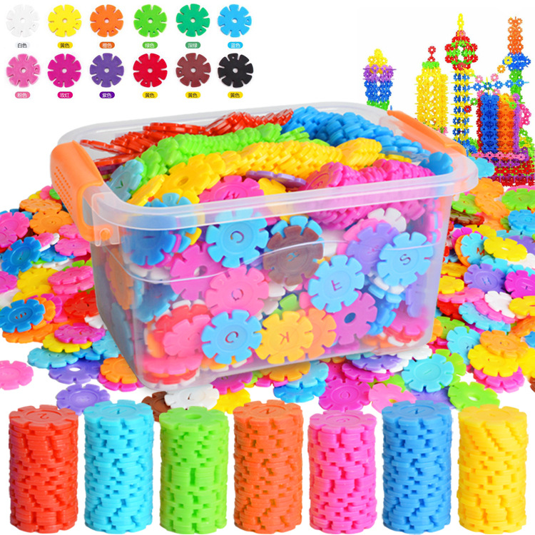 Thickened barrel snowflake flakes large childrens puzzle splicing building blocks kindergarten baby toys 3-7-8 years old