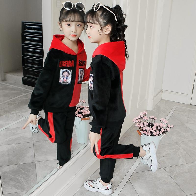 女童秋装套装2019新款金丝绒儿童中大童韩版冬装加绒加厚两件套潮
