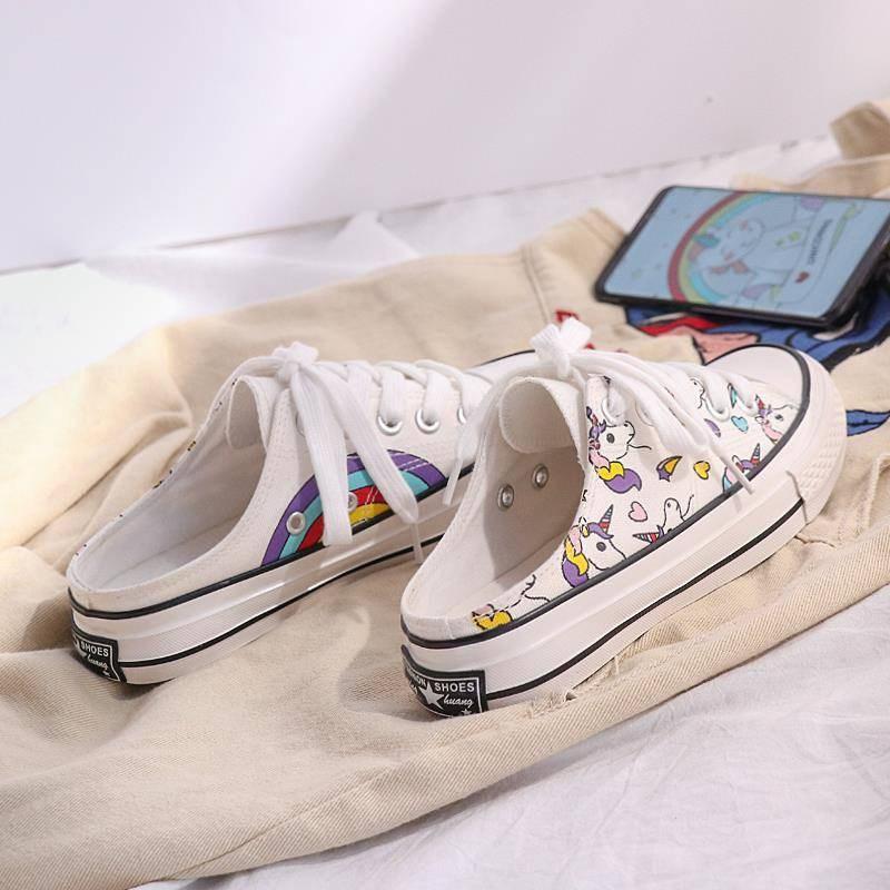 彩虹独角兽2019夏款韩版帆布鞋满30元可用5元优惠券