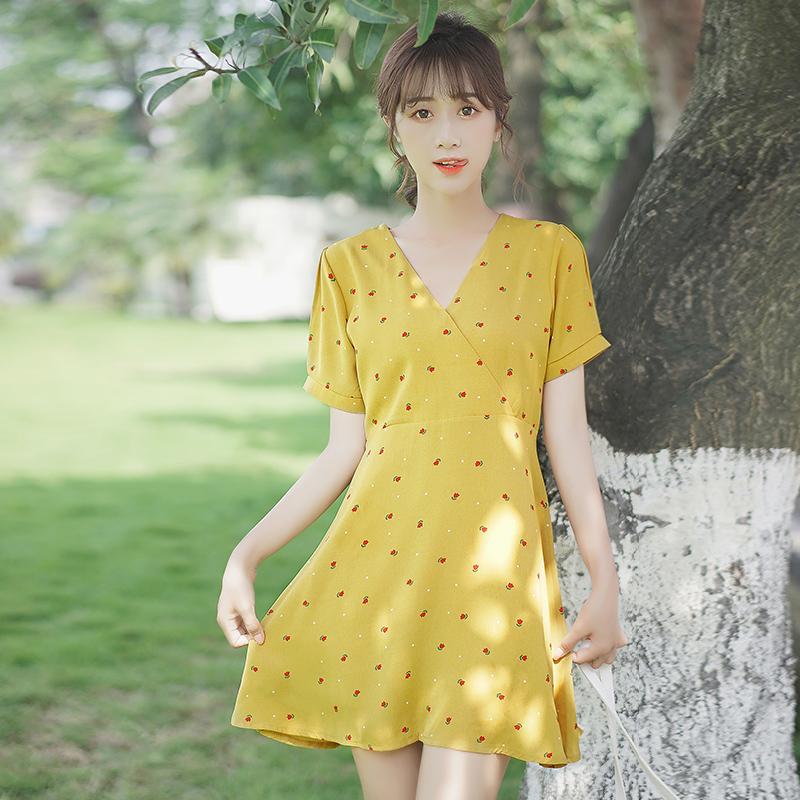 帛卡琪2020夏新款复古少女黄色雪纺裙印花甜美高腰中裙碎花连衣裙