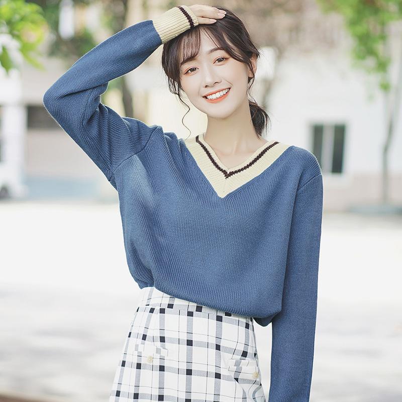 帛卡琪2019新款春秋韩版撞色条领长袖针织衫套头打底衫蓝色上衣女