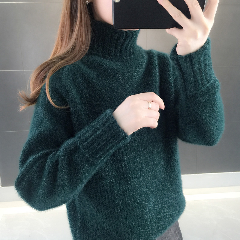 High collar womens sweater winter thickening mink Fleece Pullover loose bottomed shirt net red knitting with new fashion in autumn and winter