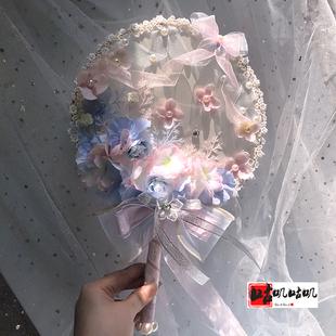 咕嘰原創手作lolita花嫁天國少女櫻茶茶會雲深花樹中華風粉藍團扇