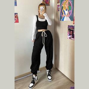 KLalien 热卖嘻哈爵士高腰显瘦束腿裤女宽松系带舞蹈运动休闲裤潮