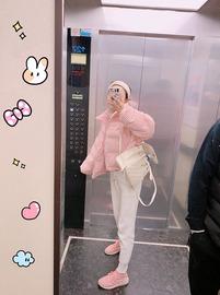atian2020秋冬新款韩版宽松甜美灯芯绒短款立领棉服面包服外套女