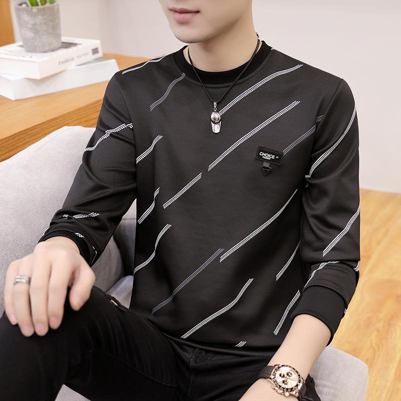 2021新款秋季长袖T恤男士韩版潮流圆领条纹卫衣青少年跑量S18-P10