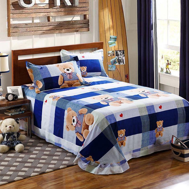 包邮新款的单子床单纯棉加厚磨毛加密垫睡被单加大床双人床2米2.2