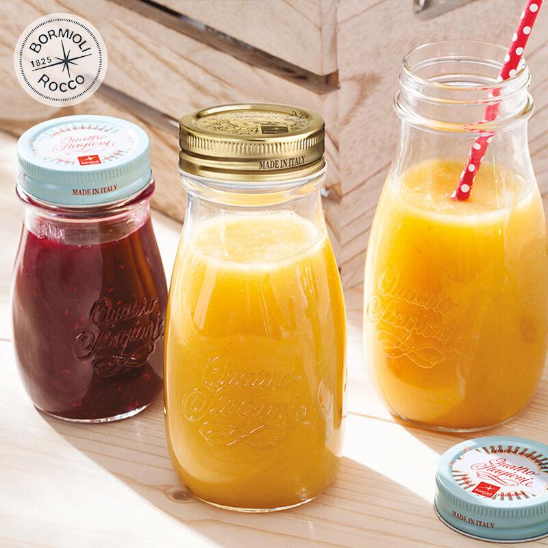 进口乡村牛奶瓶玻璃带盖便携果汁瓶家用简约运动耐热酸奶瓶果酱瓶