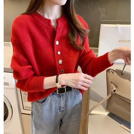 很仙的针织开衫女春装2020新款宽松韩版洋气圆领网红毛衣外套春秋