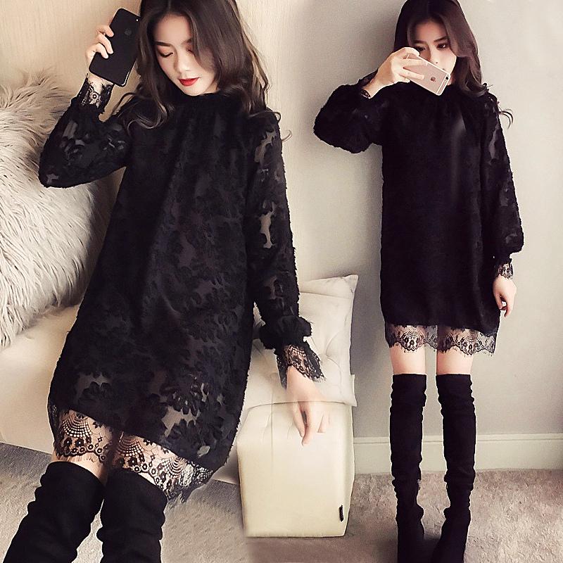 秋冬季新款加绒加厚连衣裙女中长款法式复古超仙内搭蕾丝打底裙子