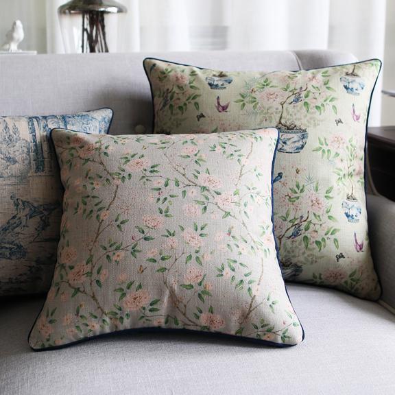 美式古典田园小花沙发样板间抱枕套