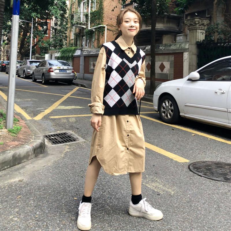 秋装韩版百搭纯色口袋中长款衬衫裙+菱格V领针织背心马甲两件套女