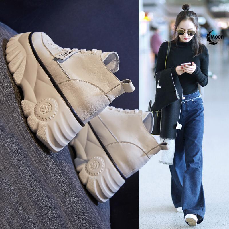 小白鞋女冬季百搭松糕厚底增高女鞋2019新款老爹加绒豆豆鞋子潮鞋