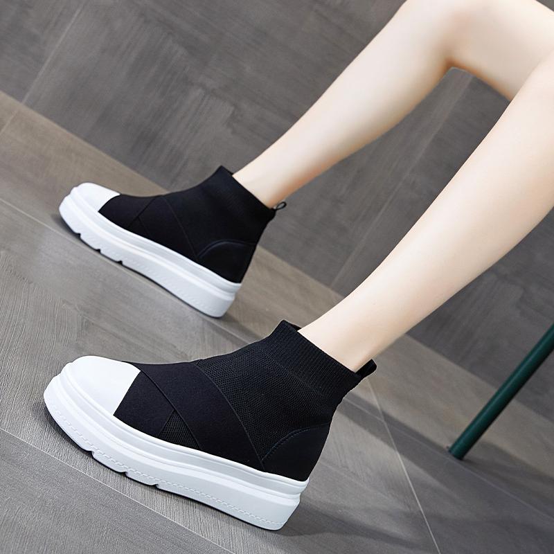 高帮弹力袜子鞋女春秋2020新款厚底增高休闲运动袜靴百搭2021爆款