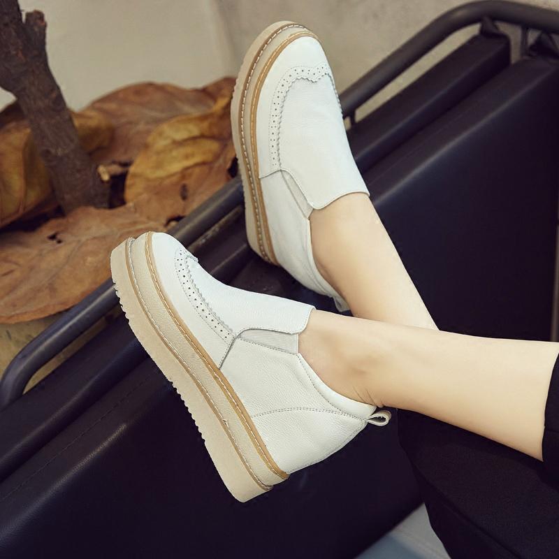 小白鞋女松糕厚底2017新款韩版百搭英伦风一脚蹬内增高女鞋懒人鞋