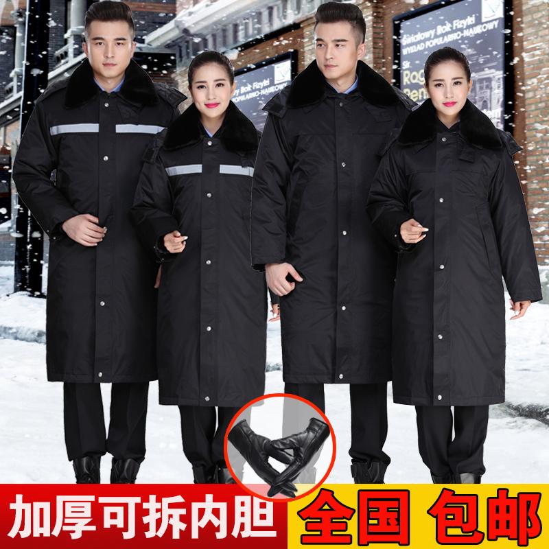 冬季保安棉服男加厚羊绒加长反光多功能防寒冬装工作棉衣保安大衣图片