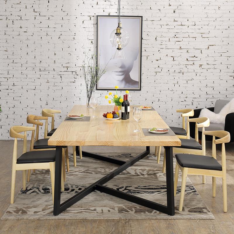 北欧家用饭桌实木loft餐桌美式工业风长方形简约现代餐桌椅组合