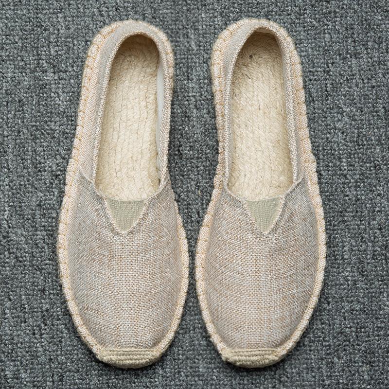 2021新款麻底鞋手工时尚草编鞋亚麻布鞋吸汗透气一脚蹬懒人玛丽鞋