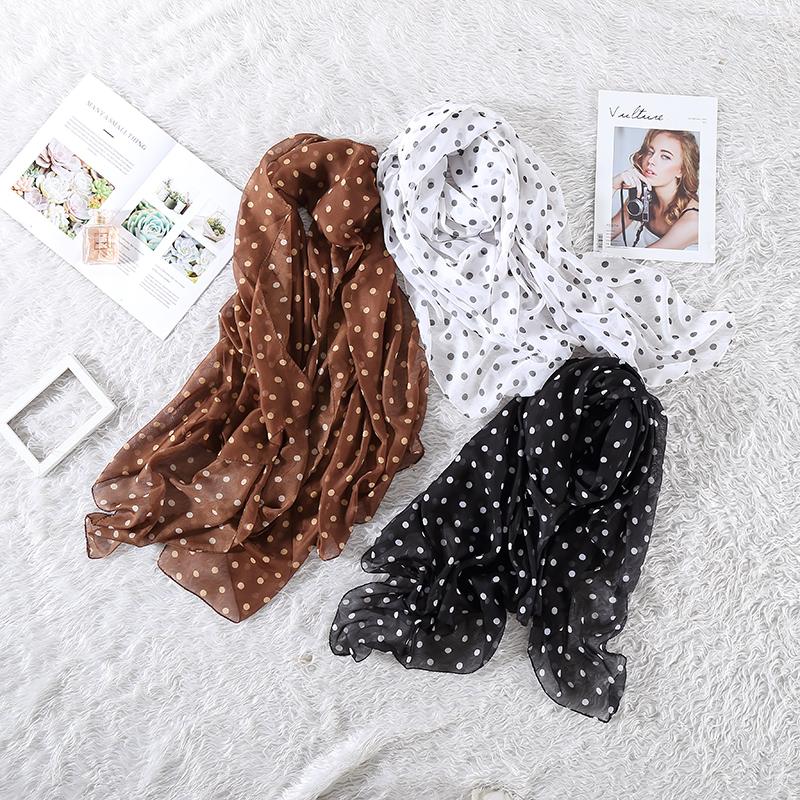 Spring and autumn retro round wave point scarf, Korean version versatile womens thin gauze, fashionable Chiffon silk scarf, sunscreen and long shawl